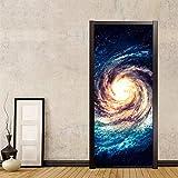 GKOO Pegatinas De Puerta,2 Piezas/Set Creative DIY 3D Wall Door Stickers Modern Creative Universe Starry Sky Wallpaper Tatuajes De Pared Pegatinas De Dormitorio para Niños, 77X200Cm