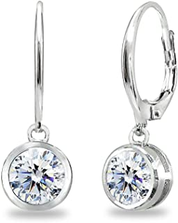Sterling Silver 6mm Round Bezel Dangle Leverback Earrings Made with Swarovski Zirconia