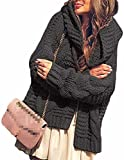 Women's Long Sleeve Hoodie Open Front Chunky Cable Knitted Cardigan Sweater Coat
