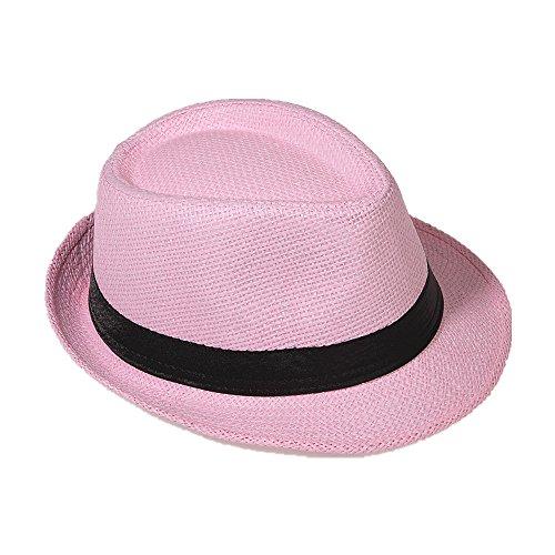 Strohhut Panama Fedora Trilby Gangster Hut Sonnenhut mit Stoffband Farbe:-Rosa (Strohhut) Gr:-54