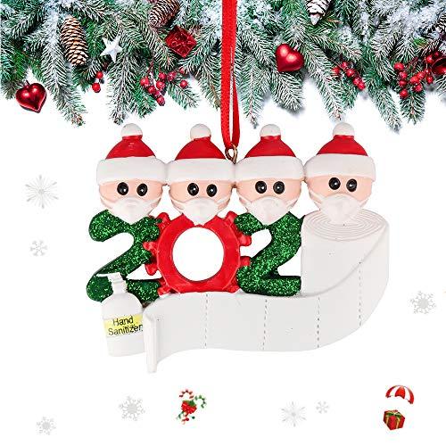 Eyscoco Weihnachtsschmuck,2020 Survived Family Christmas Ornament,3D dreidimensional Weihnachtsschmuck,DIY Name Gruß Dekoration Schneemann Anhänger mit Maske Für Weihnachtsbaum Deko (Family of 4)