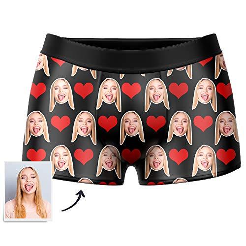 VEELU Personalisiert Herren Boxershorts Unterwäsche Unterhose mit Bilder Foto Funny Gesicht, Multi-Farbe wählbar atmungsaktiv Boxer, Lustiges Geschenk für Men Männer Freund