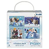 "A 4 pack of puzzles features your favorite Frozen characters Each of the 4 puzzles are 11""x15"" Each puzzle contains 60 pieces"
