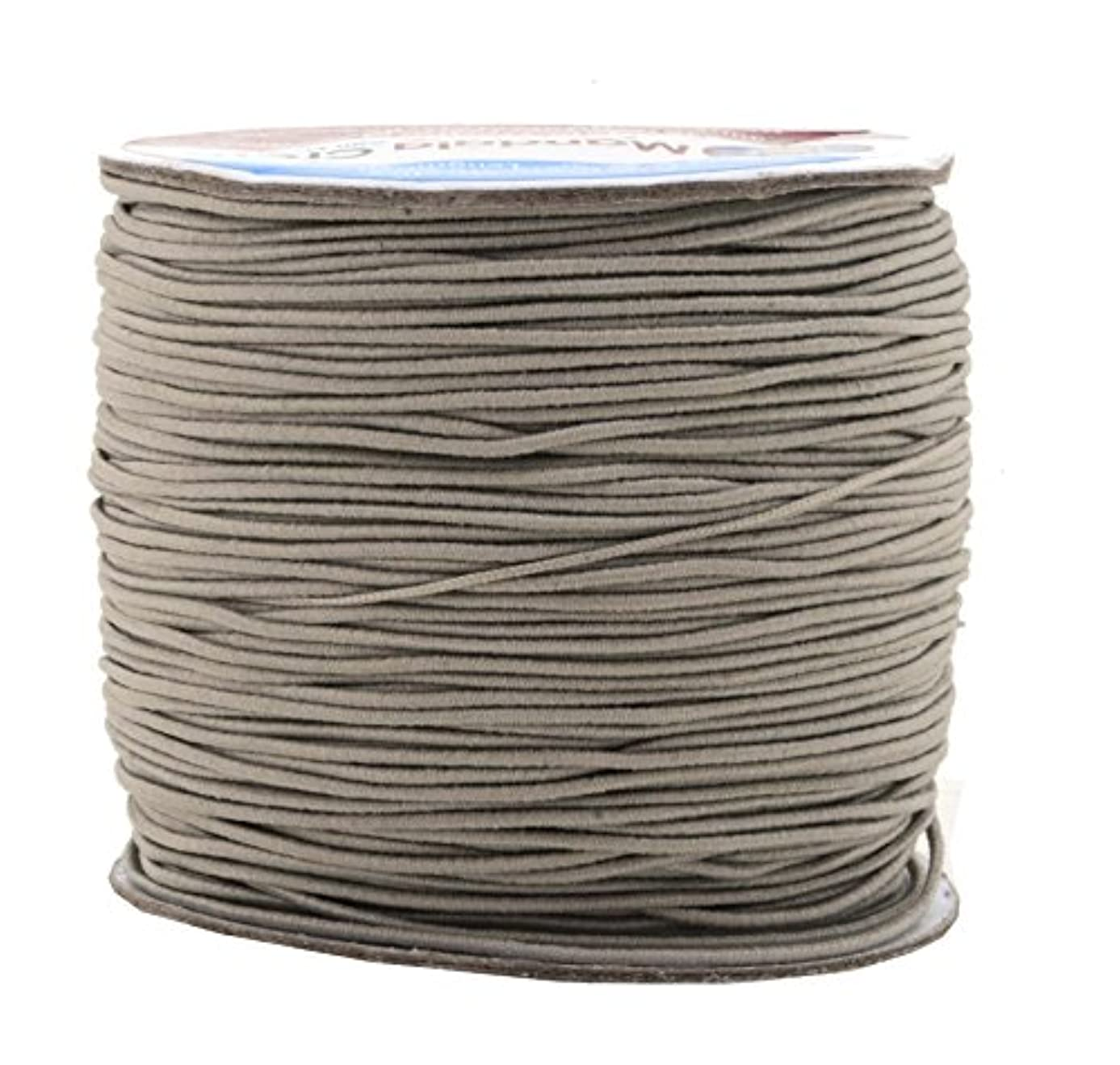Mandala Crafts 1mm 109 Yards Round Rubber Fabric Covered Elastic Cord, Stretch String for Beading, Jewelry Making, Masks, DIY Crafting (Gray)