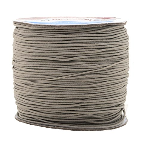 Mandala Crafts 1mm Elastic Cord Stretchy String for Bracelets, Necklaces, Jewelry Making, Beading, Masks; 109 Yards Gray