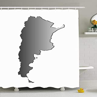 Ahawoso Shower Curtain Set with Hooks 72x72 Gray Border Argentina Contour Bas Relief Map Education Science Silver Cartography Chart Country Waterproof Polyester Fabric Bath Decor for Bathroom