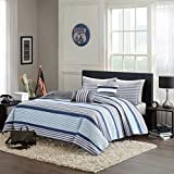 Blue, White & Gray Nautical Stripe Boys Full / Queen Coverlet, Shams and Toss Pillows (5 Piece Bedding)