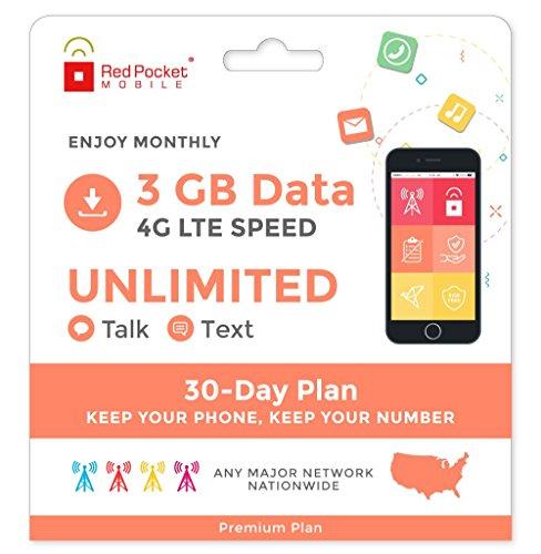 Red Pocket Mobile Prima de 30 días del Plan de teléfono de prepago sin Kit sim Libre Contrato de conversación Ilimitado de Texto ilimitados y 3 GB de Datos LTE