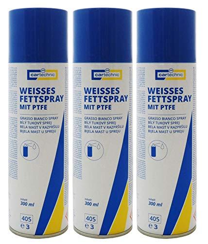 3x cartechnic Weißes Fettspray mit PTFE 300ml, Schmierfett Lagerfett Gelenkfett