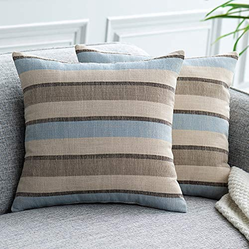 UPOPO Juego de 2 fundas de cojín con aspecto de lino, con cremallera, 60 x 60 cm, color gris azulado