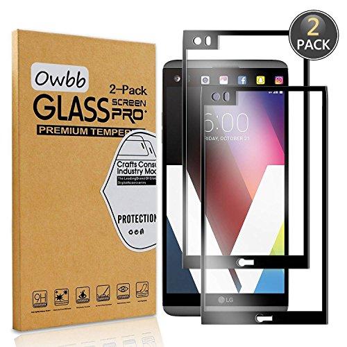 Owbb [2 Stück] Schwarz Gehärtetes Glas Bildschirm schutzfolie Für LG V20 Full Coverage Schutz 99prozent High Transparent Explosionsgeschützter Film