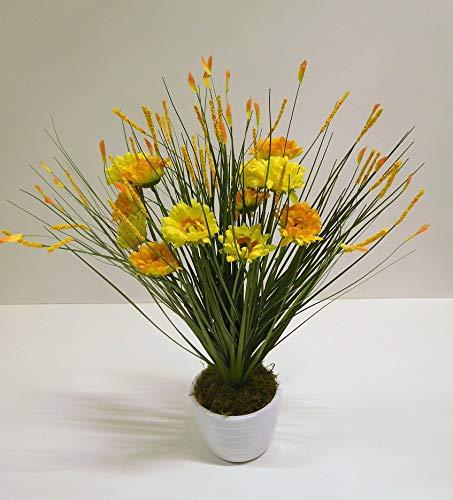 Grasbusch Gras Margerite künstlich Topf Gerbera Kunstblume unecht Topfpflanze Kunst Topf Zimmerpflanze Kunstpflanze 45 cm getopft gelb 131334-53 F68
