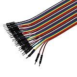 ELENXS 40pcs 20cm 2,54 mm Stecker auf Stecker Steckbrett Jumper Wire-Kabel für Arduino -