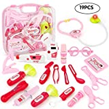JoyGrow Doctor Kits with Electronic Stethoscope 19 PCS Pretend Play Medical Toys Set Pack in Pink Durable Gift Case Doctor Toys for Girls and Kids (Red)