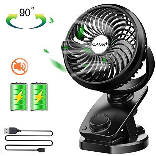 CAVN Ventilador USB, 5000mAh Recargable Batería Mini Ventilador Portatil Clip Ventilador de Silencioso, 360 Grados de Rotación, Ventilador pc para la Oficina, Hogar,Viajar, Acampar, Cochecito