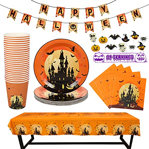 DOITOOL Halloween Party Supplies, Tableware Kit for 24 Peoples, Halloween Party Supplies Spooky Halloween Themed Parties and dinner ( Orange )