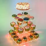 Weddingwish Pastry Stand 4 Tier Acrylic Cupcake Display Stand Cake Stand Dessert Stand Cupcake Holder Pastry Serving Platter Candy Bar Party Décor Wedding Birthday Holidays,Christmas(Colorful)