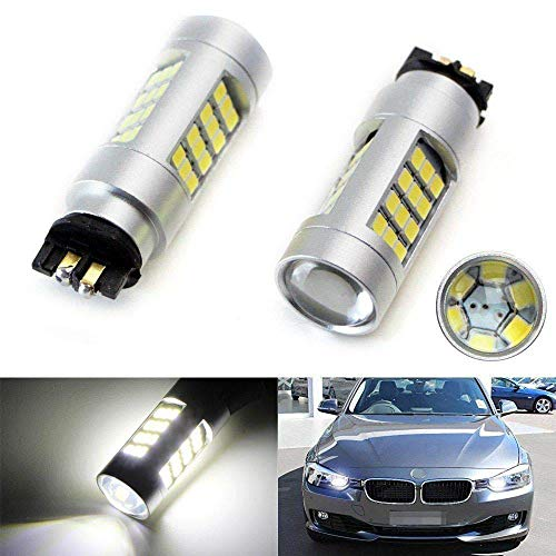 iJDMTOY (2) 6K Xenon White 42-SMD PW24W 12182 LED Bulbs Compatible With BMW F30 3 Series Halogen Headlamp Daytime Running Lights