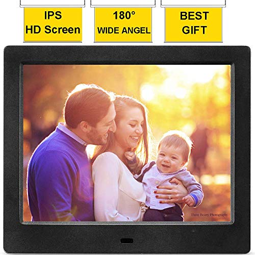 MRQ 8 Inch Digital Photo Frame Full HD Display 180 Degree Wide Viewing Angle Electronic Picture Video (1080P) Frame with Auto-Rotate, Remote Control, E-Book, Calendar, Alarm Clock