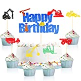 37 Pieces Construction Car Birthday Cake Toppers Construction Cupcake Toppers Truck Dump Excavator Bulldozer Road Roller Engineering Themed Cake Decorations for Kids Birthday Party Decoration