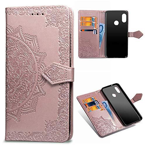 Xiaomi Mi A2 Lite Funda Cuero PU Floral Impreso Prueba Choques Cierre Libro Característica Soporte Xiaomi Redmi 6 Pro Caso Cubrir Mandala en relieve piel Cubierta tapa Oro rosa