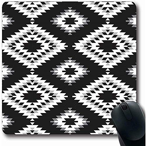 Mousepad Oblong 18X22Cm Mozaïek Antieke Turkse Tapijt Wit Grijs Patronen Afrikaanse Boho Border Detail Oost Etnische Perzische Office Computer Laptop Notebook Mouse Pad,Antislip Rubber