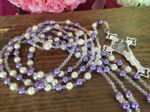 Swarovski Lilac and Cream Color Pearls Wedding Lasso/laso De Boda/Crystal Pearls Wedding Rosary Silver Plated Lazo De Boda Perlas Lilac