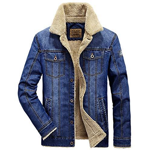 Loeay Herren Jeansjacke Lässig Klassisch Winter Dick Brusttaschen Rodeo Gefüttert Mode Herren Jeansjacke Verdicken Warme Oberbekleidung Mantel Blau XXL