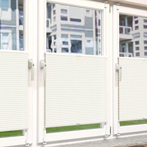 Plissee Rollo Sonnen- und Sichtschutz Klemmfix, ohne Bohren Breite 110 cm Höhe 130 cm in Weiss