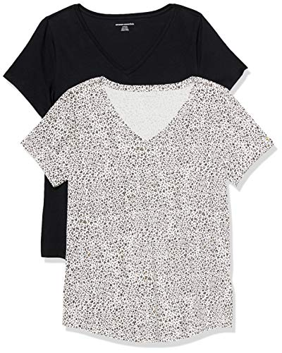 Amazon Essentials Women's 2-Pack Classic-Fit 100% Cotton Short-Sleeve V-Neck T-Shirt