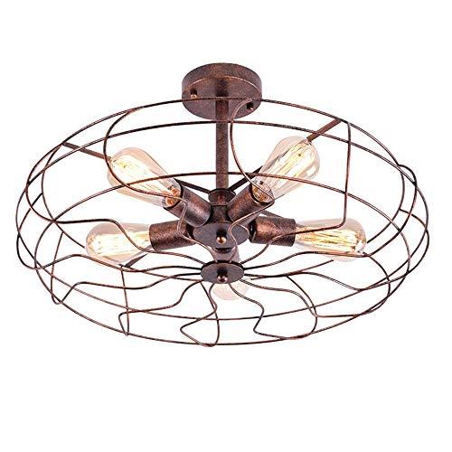 DEJ Retro industriële ventilator kroonluchter smeedijzer semi-ingebed plafond kroonluchter kroonluchter antieke verlichting met 5 lichten