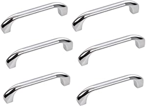 HOMEPRODUCTS4U Durga 4-inch Stainless Steel Drawer Cabinet Handles with Bolts (Silver) - Pack of 6