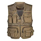 Iuhan Men Vest Outdoor Multi-Pocket Mesh Sleeveless Vest Thin Photography Fishing Zipper Vest