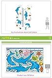YFKSLAY Dessin animé Bleu Dauphin Autocollant Mural bébé Mesure de la Hauteur pour Les Chambres d'enfants pépinière Graphique Croissance Croissance Autocollant sous-Marin Poisson décoration