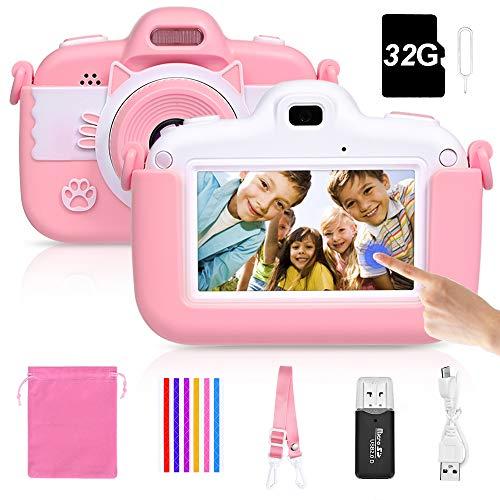 Faburo Kinderkamera Touchscreen Digital Kamera Mini Kamera Kinder Spielzeug 3.0 Zoll Bildschirm Kamera Video Spiel Multifunktion mit 32GB SD Karte USB Ladekabel Rosa
