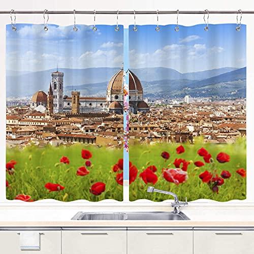 DECISAIYA Cortina de Cocina Catedral Florencia Duomo Giotto Campanile Juegos de Tratamiento de Ventanas Cortinas 2 Paneles con Ganchos,140x100CM