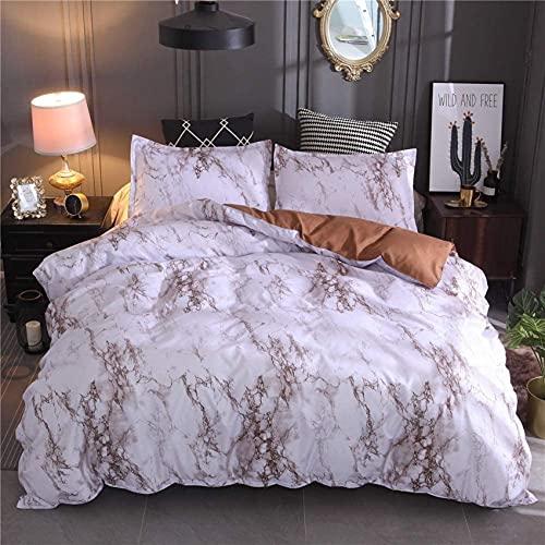 Juego de funda nórdica para cama individual doble King, juego de cama con estampado de mármol, diseño de fácil cuidado, microfibra suave, 1 funda de edredón + 2 fundas de almohada, ropa de c