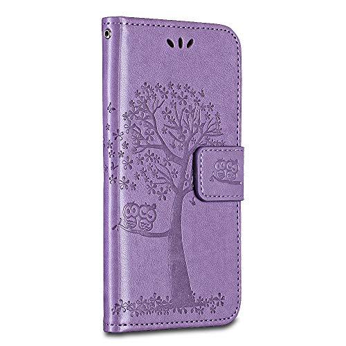 BRAVODAY Sony Xperia L1 / E6 Hülle, Handyhülle Leder Hülle Tasche Flip Schmetterling Ledertasche Lederhülle Klapphülle für Sony Xperia L1 / E6, Violett
