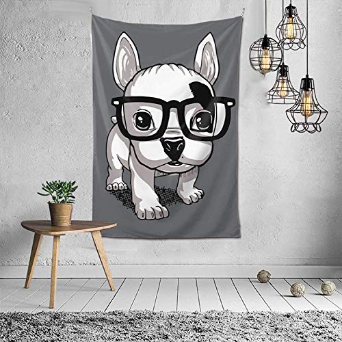 Star Heaven Tapestry Wall Hanging, Lovely Striped Frenchie Puppy Tapestries for Dorm Living Room Bedroom, Wall Blanket Beach Towels Home Decor 60x40 Inches