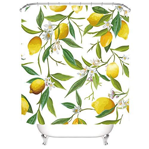 Gzsyb Duschvorhang 180x200 cm Anti-Schimmel Wasserdicht Duschvorhänge Zitrone Obst 3D Digitaldruck mit 12 Weiß Duschvorhangringen für Dusche in Badezimmer