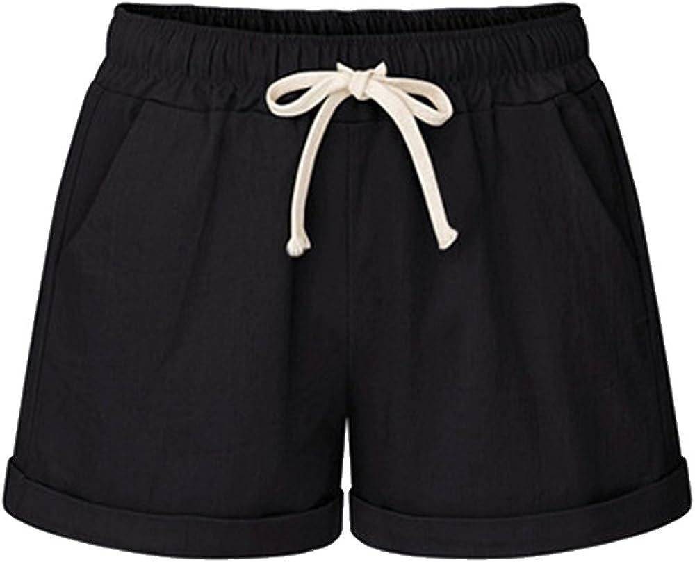 Elastic Waist Shorts for Women Summer Shorts Drawstring Shorts Casual Shorts with Pockets