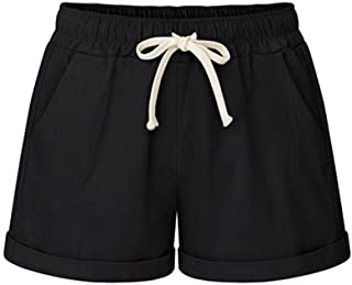 Sobrisah Elastic Shorts for Women Summer Drawstring Casual Cotton Linen Shorts with Pockets