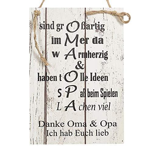 Wand Deko Holzschild mit Spruch im Shabby Chic Vintage Stil (20x29x0,5cm) Oma/Opa Ich Habe Euch lieb - die Geschenkidee für ihre Großeltern
