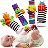 Foot Finders & Wrist Rattles for Infants Developmental Texture Toys for Babies & Infant Toy Socks & Baby Wrist Rattle – Newborn Toys for Baby Girls & Boys. Baby Boy Girl Toys 0-3 3-6 & 6 to 12 Months