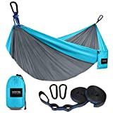 Kootek Camping Hammock Double & Single Portable Hammocks with 2 Tree Straps, Lightweight Nylon Parachute Hammocks for Backpacking, Travel, Beach, Backyard, Patio, Hiking (Grey & Sky Blue, Large)
