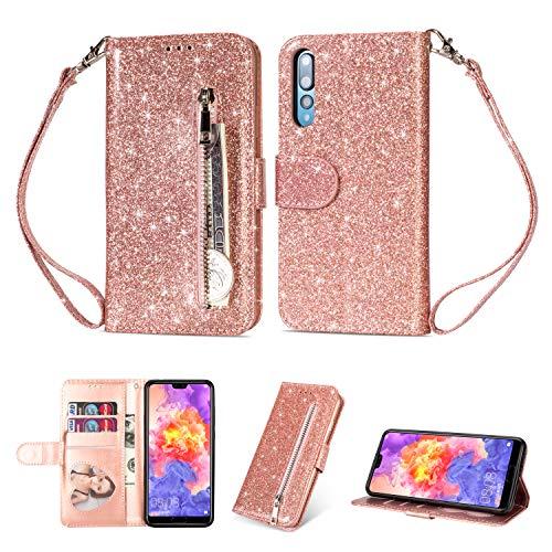 Ostop Glitzer Rosegold Hülle für Huawei P20 Pro,Glänzend Handyhülle Reißverschluss Brieftasche Leder Tasche Stand Kartenfach Magnetisch Klapphülle Schutzhülle für Huawei P20 Pro