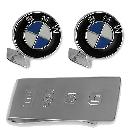Sterling Silber Emaille BMW Manschettenknöpfe James Bond Geld Clip Box Set