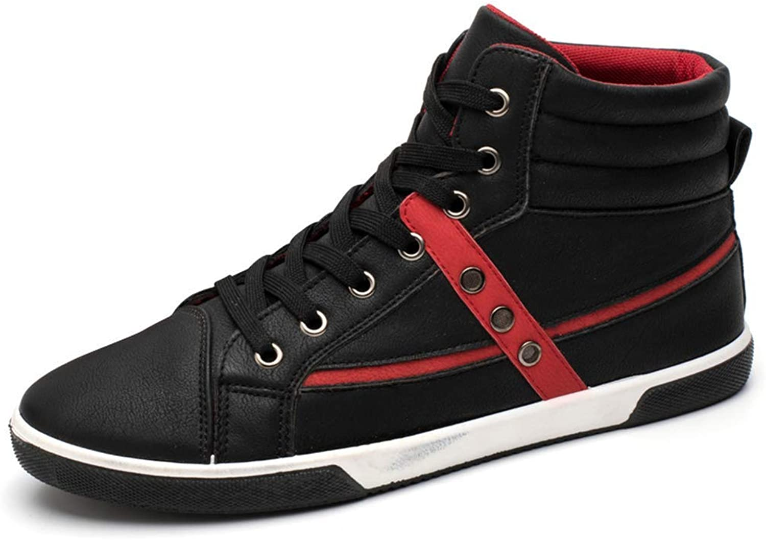 ZHRUI Mens Fashion Casual shoes Male Breathable Sneakers Classic PU Leather shoes (color   Black, Size   8=42 EU)