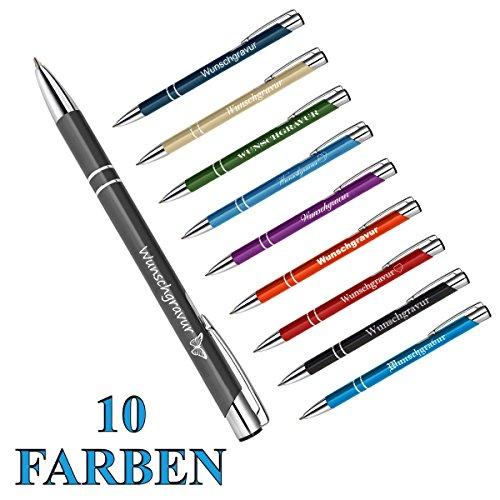 polar-effekt 10 Stück Metall Oleg Kugelschreiber mit Gravur des Namens - Personalisierte Geschenk-Idee Mitbringsel - blau schreibend - Geburtstagsgeschenk - Farbe Mix