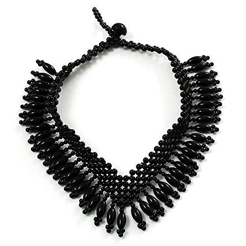 Collar ras del cuello perlas negro en forma de V tonos Azabache